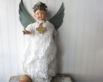 Assemblage angel art doll mixed media angel with crown upcycled shabby vintage altered art doll  santo Folk Art wall hanging Divine decor