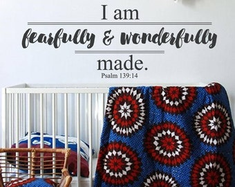 Fearfully & Wonderfully Made Scriture Psalms 139:14 Wall Decal Words Nursery Vinyl Lettering Stickers Bible Verse Bible Quotes Religious