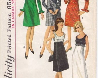Vintage Pattern Simplicity 6216 Dress in Two Lengths with Detachable Collar 60s Size 12 B32