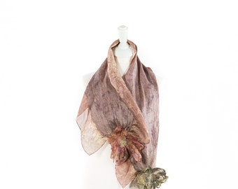 Handmade| Silk & Felt Scarf| Hand Dyed| Kate Ramsey |Accessories| | Fabulousfelt| Neckwear| Unique Style | Cocoa Brown