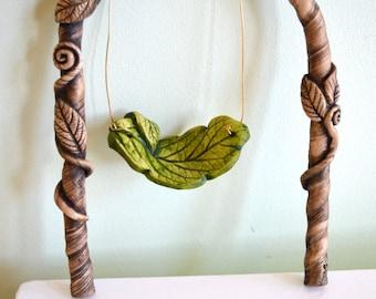 Fairy Swing, Miniature swing, Fairy Hammock, Fairy Bed for Fairy garden: cast marble stone