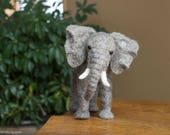 Felt Elephant Sculpture - Needle Felted Elephant - Needle Felted Animal - Soft Sculpture - Felt Animal - Wool - Elephant Decor