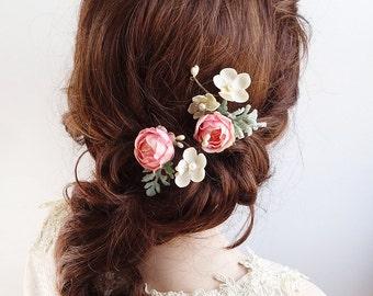bridal hair clip, flower hair pin, pink hair clip, bridal hair piece, pink flower hair clip, floral hair pins, wedding hair pins, pink rose