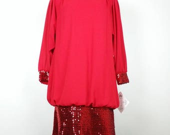 Vintage Red Drop Waist Sequin Dress Plus Size Womens 20W Petite 80s