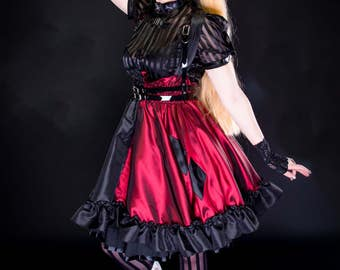 """Harely Quinn Dress - Cosplay Comic inspired Costume - Adult Halloween Lolita Cosplay -  """"Harley Lolita Jumper"""" -Custom to your size"""