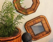 bamboo frame wall mirrors - octagon mirror - boho tiki wall decor - pair of mirrors