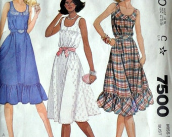 Vintage 80's McCall's 7500 Sewing Pattern, Misses' Sundress With Transfer, Size 18, 40 Bust, Uncut FF, Spring Summer 1980's Fashion