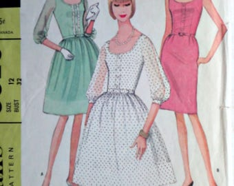 Vintage 60's McCall's 8325 Sewing Pattern, Misses' Dress In Two Versions, Size 12, 32 Bust, 1960's Fashion, Special Occasion Dress