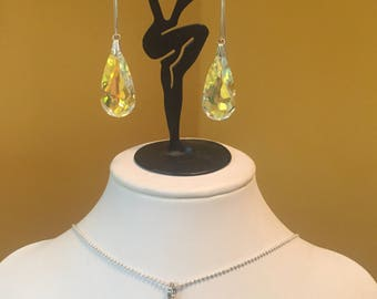 Sterling Silver and Aurora Borealis Swarovski Crystal Necklace and Earring Set