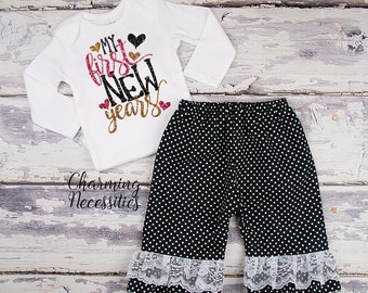 Baby Girl New Years Eve Outfit, Holiday Toddler Clothes, Top and Ruffle Pants Set My First New Years Black Gold Hot Pink Glitter