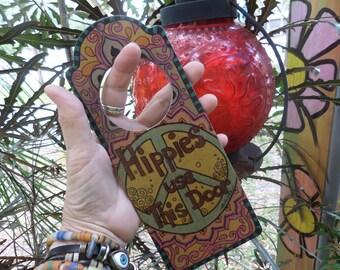 Hippies use the back door, Door sign, Hippie sign, Singleton, Door hanger, hippie decor, hippie door, hippie house, hippies welcome,