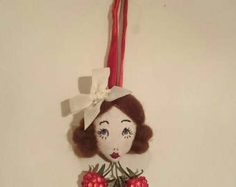 Hello Dolly!! Lucy Raspberry Doll Face Embroidered Bow Brooch Decoration