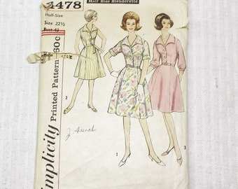 Early 60s Vintage XL Dress Pattern 43 Inch Bust Simplicity 4478