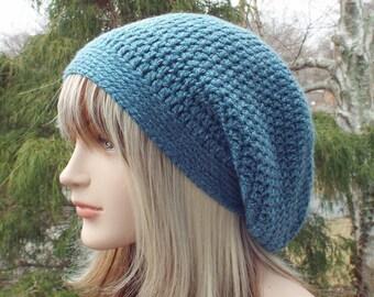 Blue Heather Slouchy Beanie, Womens Crochet Hat, Slouchy Hat, Oversized Slouch Beanie, Hipster Hat, Slouch Hat, Baggy Beanie