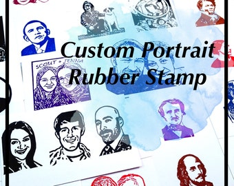 Custom Portrait Rubber Stamp - Hand Carved