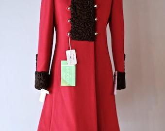 RESERVED Vintage 1960s MODELIA Ladies Wool Coat With Fur Trim - 1960s Cherries In The Snow Red Wool Pea Coat With Persian Lamb Trim