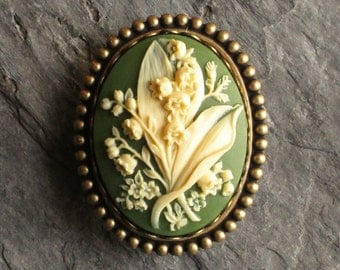 Lily of the valley cameo brooch, green flower brooch, cameo jewelry, antique brass brooch, holiday gift ideas, gift ideas for mom