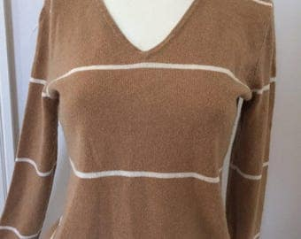 Vintage Cashmere Sweater Caramel Honey Brown Striped V Neck Pullover Sweater Size Small Italian Cashmere Sweater, Striped Cashmere Sweater