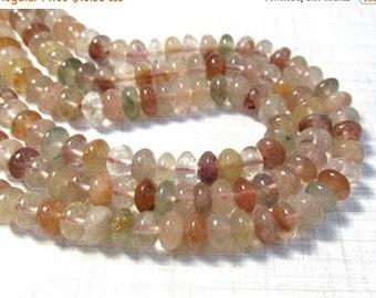 Natural Rutilated Quartz Rondelle Saucer Beads 8mm, Pink Gold Green Rutilated Gemstones