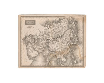 Original print from 1824 edition of Encyclopædia Britannica; Sidney Hall map of Asia - Free US Shipping