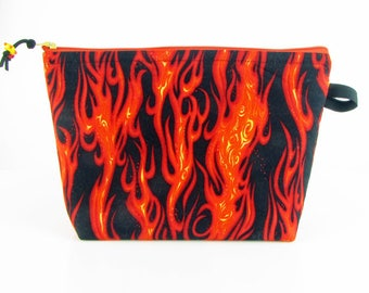 Flames, large cosmetic bag, cosmetic travel bag, toiletry bag for her, padded makeup bag, make up bag, fabric jewelry bag , flameworker