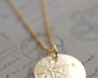 Gold Filled Compass Necklace - Compass Rose Pendant in 14K GF - Custom Hand Drawn Design by EWD - Inspirational Grad Gifts
