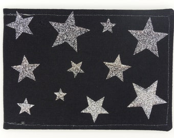 Oyster card holder, bus pass holder, travel card holder, wallet. Silver glitter stars. Card wallet, Oyster card wallet, card holder.