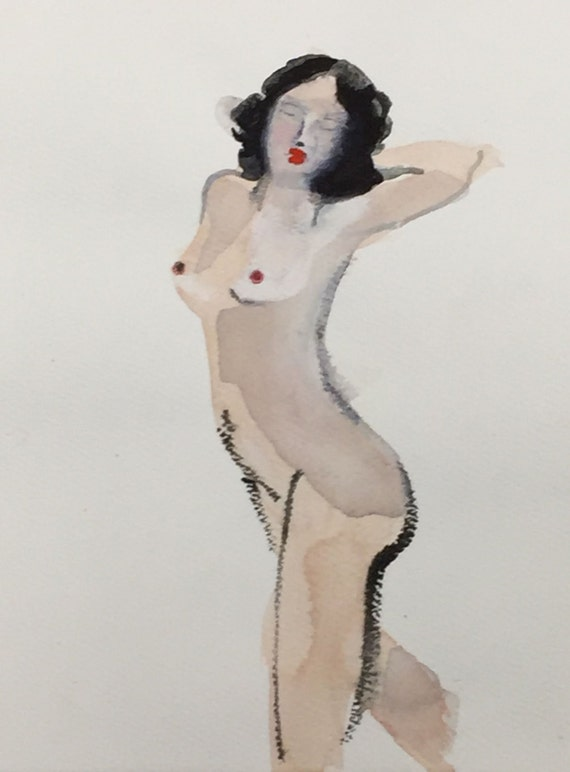 Mini Nude #31 -original watercolor painting by Gretchen Kelly