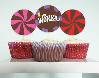 Willy Wonka cupcake toppers Willy Wonka birthday party DiY printable cupcake toppers PuRPLe PiNK & ReD