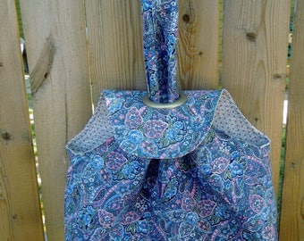 Small Grommet Bag, Project Tote-Paisley Blue, Pink, Green