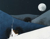 Night Landscape Art Print - 8x10 Contemporary Winter Painting - Moon Rise by Natasha Newton