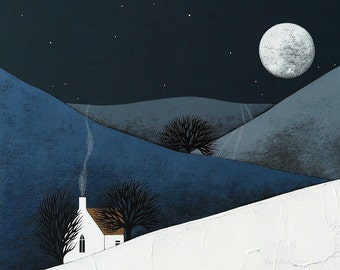 Moon Rise - Night Landscape Art Print - 8x10 Contemporary Winter Painting - by Natasha Newton