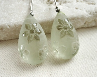 Prasiolite Green Amethyst Carved Flowers Frosted Teardrop Beads 14 x 23.5mm - Matched Gemstone Pair