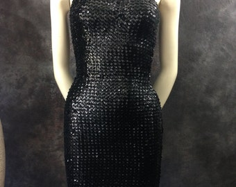 Vintage 1980's black sequined spandex halter neck minidress small