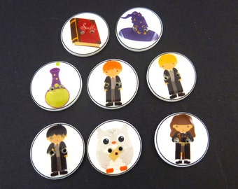 "8 Wizard Buttons. Handmade Decorative Novelty Buttons.   3/4"" or 20 mm Wizard or Sorcerer Buttons for Sewing, Knitting, Crochet."