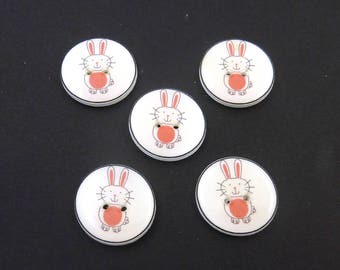 "5 Bunny or Rabbit Buttons.  Handmade Buttons.  Easter or Spring Sewing Buttons. 3/4"" or 20 mm round.  Craft Buttons. Sewing Buttons."