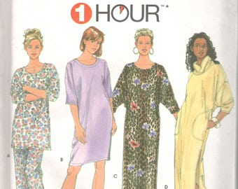Simplicity 9938 1 Hour Misses Pajamas Nightshirt and Lounge Dress Pattern Womens Easy Sewing Pattern Size XS S M Bust 30 - 38 OR L Xl  UNCUT