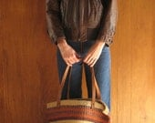RESERVED 1970s woven JUTE & LEATHER market bag