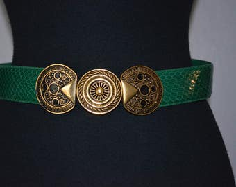 Vintage NOS Belt Green Snakeskin. Articulated Medallion Buckle. Deadstock.  28 29 inch waist. One Size. Antique Gold tone and enamel.