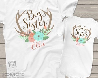 big sister shirt, baby sister shirt - adorable antlers matching sibling set for any big/little combination BSDDA2