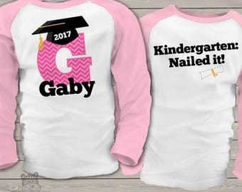 Graduation shirt - girl graduation shirt with chevron initial and grad cap front and back personalized RAGLAN style shirt  mscl-038-r
