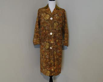 Vintage 1950s Coat, Brown, Olive, Orange Floral Faille Fabric Jacket, Velvet Collar and Wrist Buttons, Front Pockets, Needs Repairs, As Is