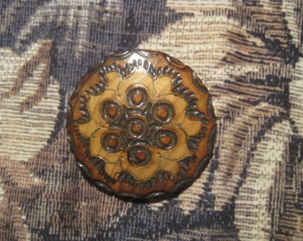 Handcarved Polish Wood Pin Burnt and Stained made in Poland Brass Inlays Vintage