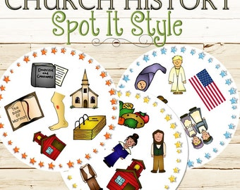 Church History Spot It Style Find the Match - INSTANT DOWNLOAD