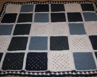 """Mosaic Tile Blue White Throw Crocheted Granny Square Blanket Afghan New Fiber Art 44"""" x 38"""""""