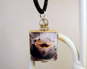 BEARDED DRAGON Jewelry / Scrabble Pendant / Necklace with Cord