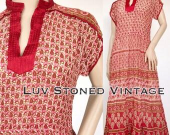 Vtg 70s Indian Cotton Boho Hippie Gauze Gypsy Festival Midi Dress D150 . XS-SM . 1243.1.17.17