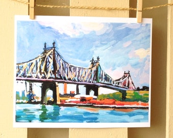 Queensboro Bridge Queens Long Island City Astoria NY New York Art NYC Art east river 59th Street Bridge Art Print, Painting by Gwen Meyerson