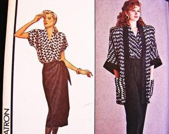 80s Sewing Pattern size 12 UNCUT Mock Wrap Skirt Wrap Top Oversized Jacket High Waisted Pants Pattern