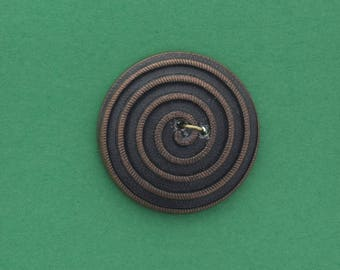 Button , 2 hole sew on,  26mm ,spiral button , black with gold ,  made in Germany sold 4 each OB7577
